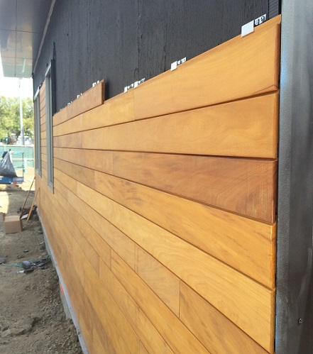 Garapa Rain Screen installation in California