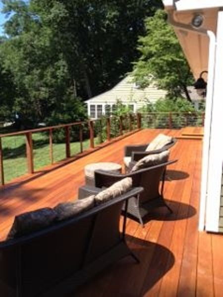 Garapa deck with cable rail