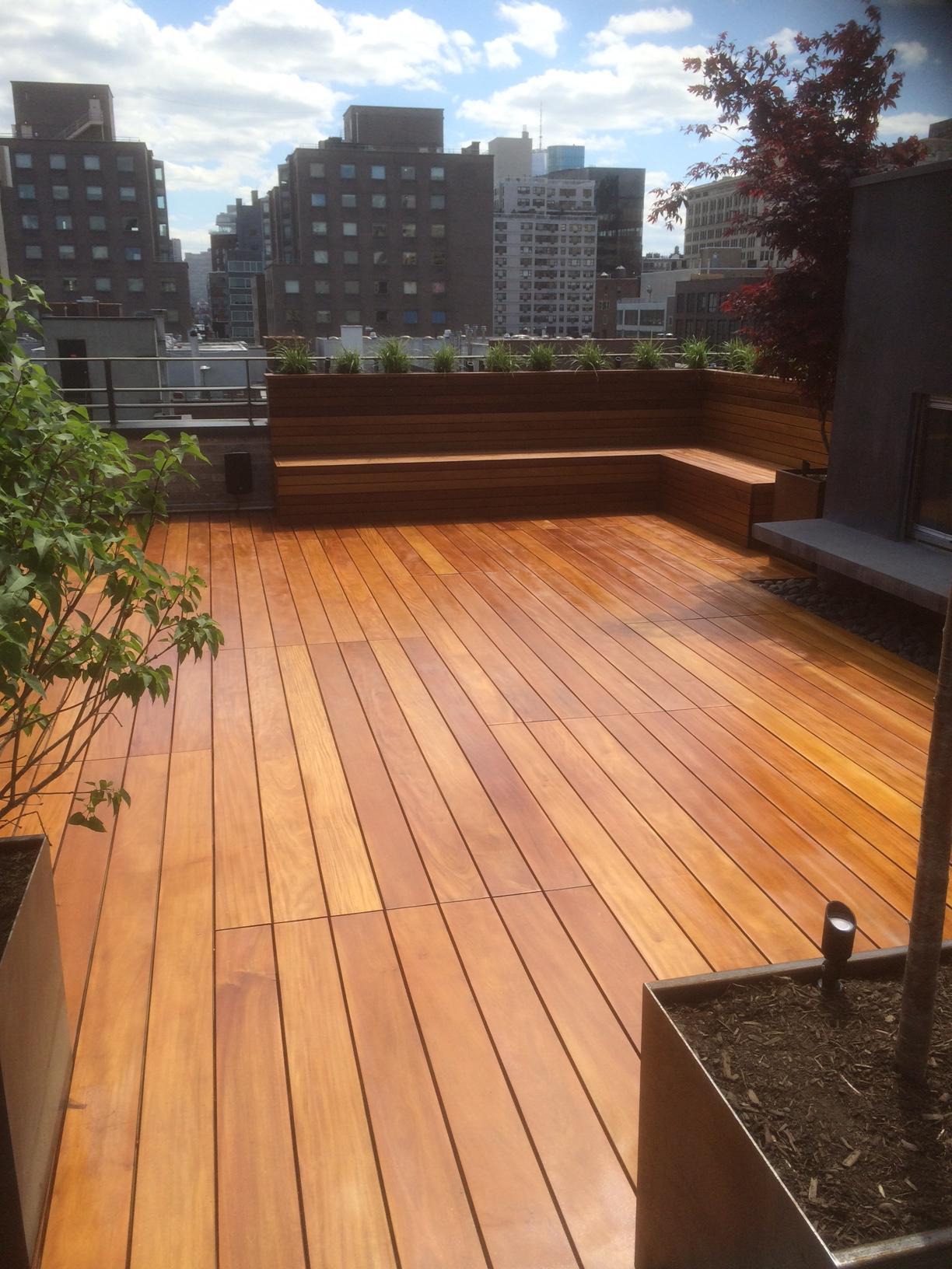Garapa rooftop deck - Organic Gardener NYC