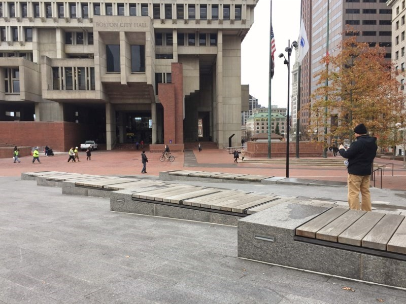 Ipe timber benches in Boston