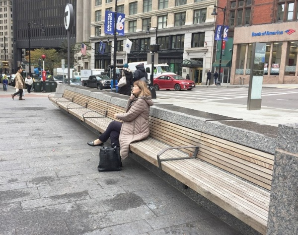 Ipe benches at granite wall