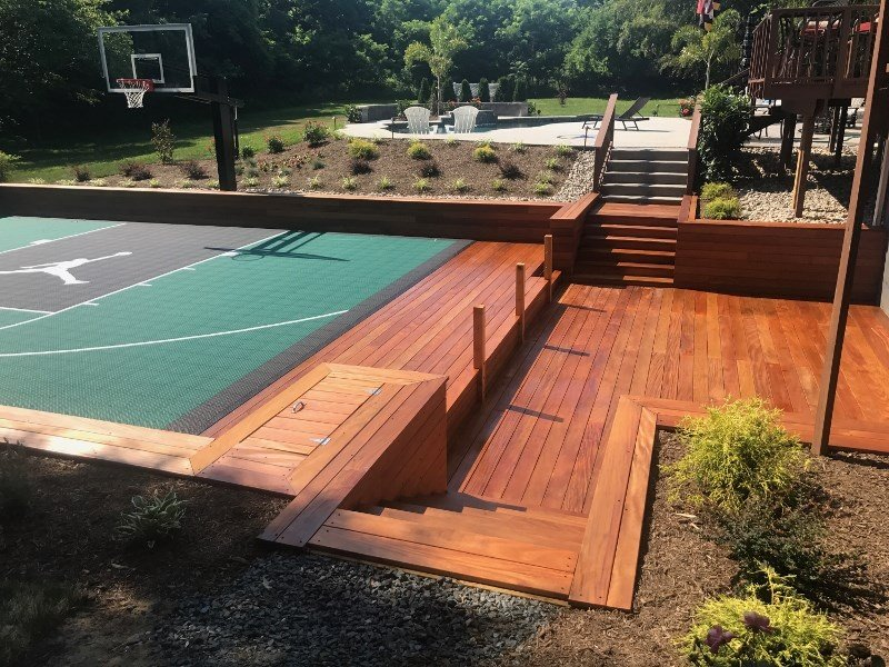 Ipe deck and stairs and retaining walls at outdoor basketball court