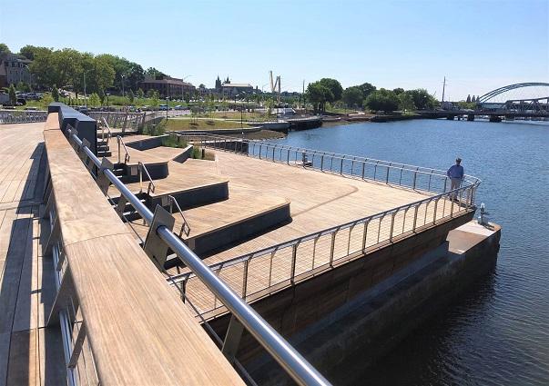 Ipe decking and railings on lower deck of bridge-2