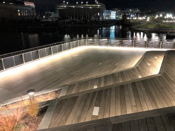 Ipe decking and steps at night Providence Pedestrian Bridge