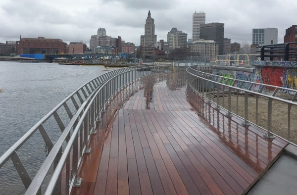 Ipe decking on east side of Providence Pedestrian Bridge