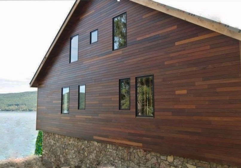 Ipe rain screen siding installation on Canandaigua Lake -