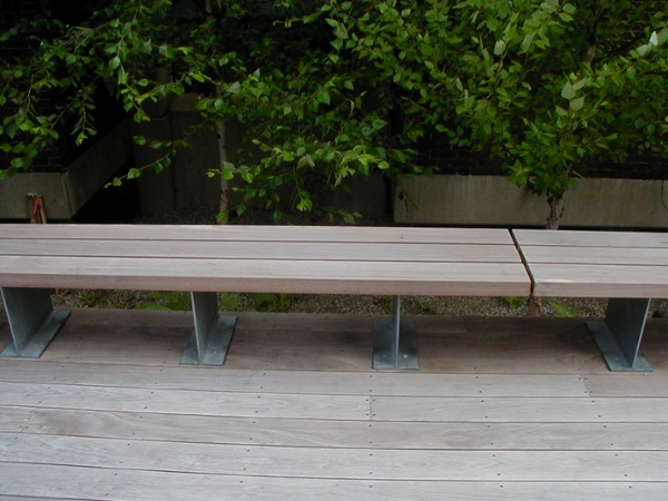 Ipe bench and decking weathering in place at UMass Amherst