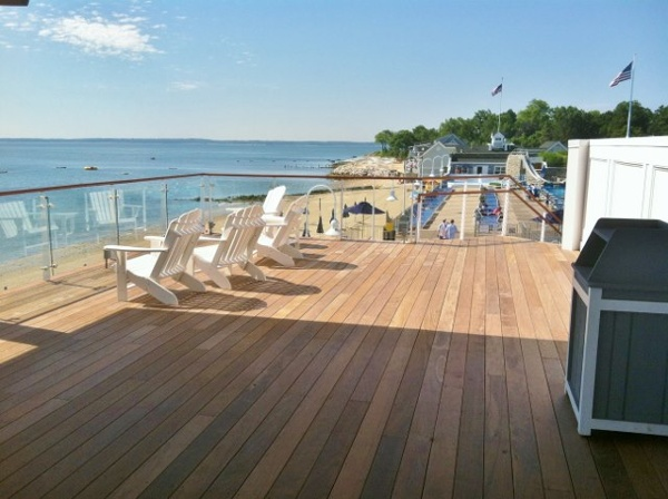 Ipe rooftop deck at beach club on the sound