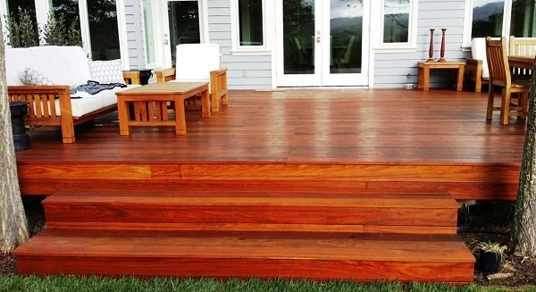 Machiche hardwood deck and full width stairs