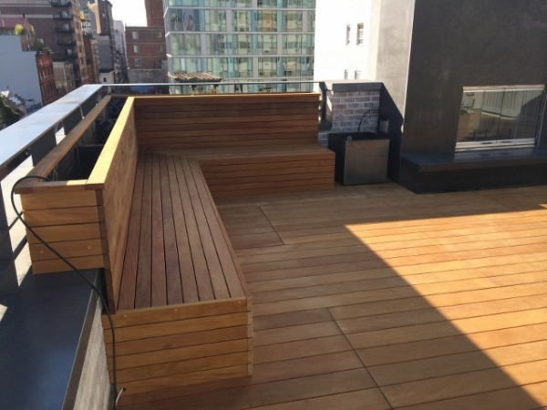 Garapa rooftop deck and benches- Organic Gardener NYC