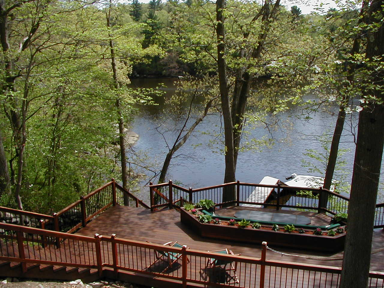Ipe deck, dock, railing and stairs by the water
