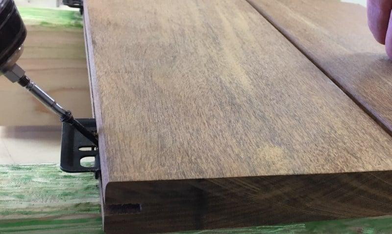 Ipe hardwood decking with hidden fasteners