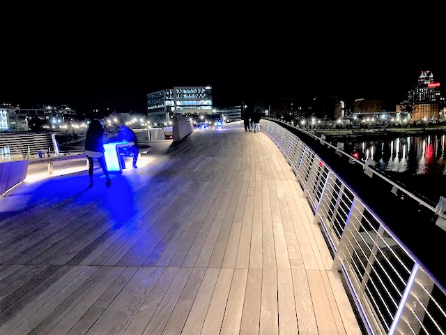 Providence Pedestrian Bridge Ipe decking at night
