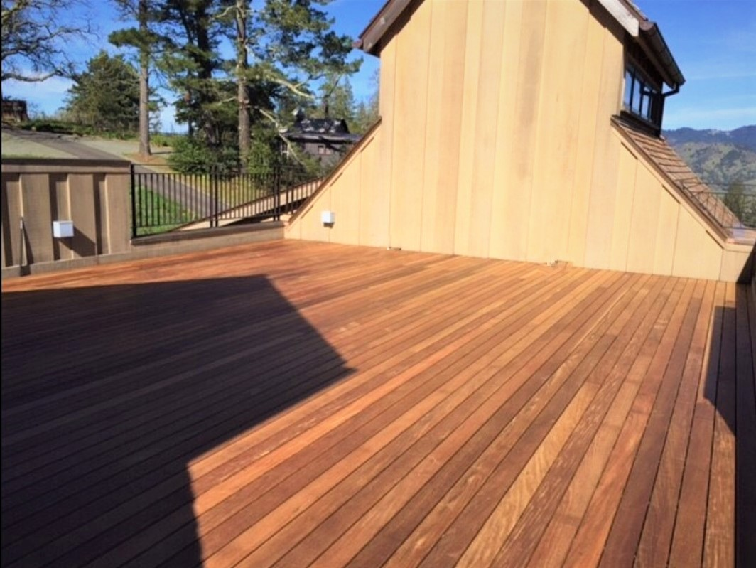 Rooftop deck at Northern california winery