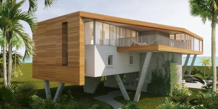 Architects rendering of the Tree Tops modern home design, wood rainscreen project in Jupiter Florida-photo courtest of Clint Larken, Hughes Umbanhower Architects