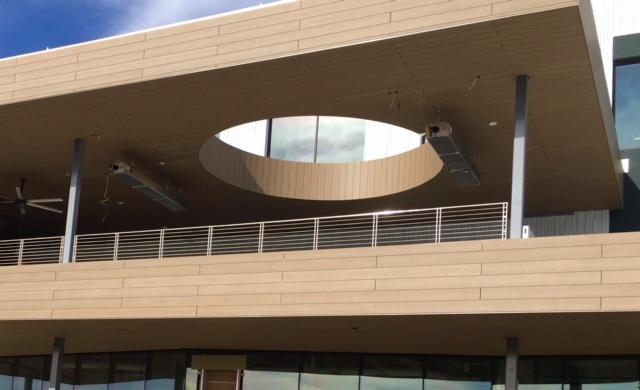 Trespa Pura Classic Oak decor horizontal vertical and soffit installation