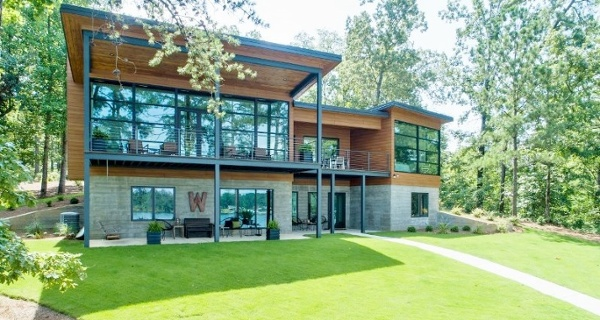 Trespa Pura Romantic Walnut cladding on lakefront home in Southeast.jpg