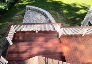 ipe hardood deck with stone patio